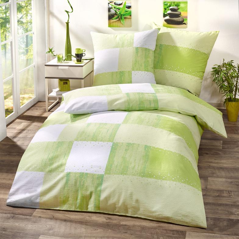 seersucker bettw sche 772 clipped gr n farbe hammer zuhause. Black Bedroom Furniture Sets. Home Design Ideas